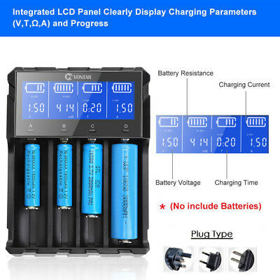 Intelligent LCD Battery Charger for 18650 14500 18350 16340 AA AAA Li-ion Ni-Mh