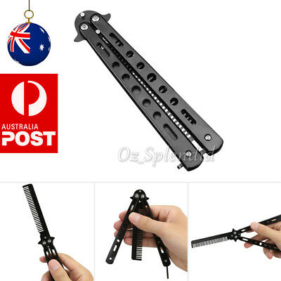 Metal Steel Practice Butterfly Balisong Trainer Comb Knife Dull Blade Folding