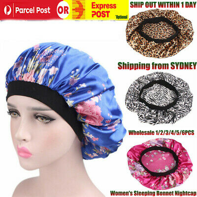 Women's Sleep Cap Hot Hair Hat Care Elastic Satin Sleeping Bonnet Nightcap-C2