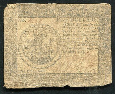 Cc-79 September 26, 1778 $5 Five Dollars Continental Currency Note