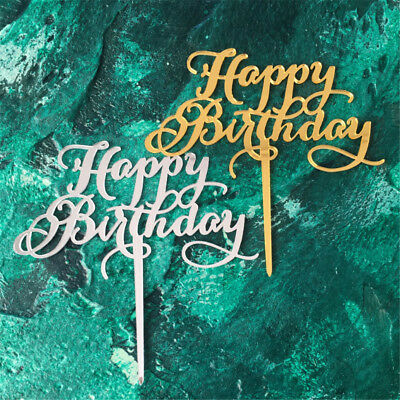 Happy Birthday Acrylic Cake Topper Decor Silver Gold Birthday Party Caker Decor
