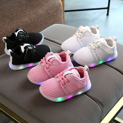 Infant Baby Kids Boys Girls LED Shoes Light Up Luminous Sport Trainers Sneakers