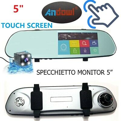 "Specchietto Retrovisore Monitor 5"" Touch Registra Video Retromarcia Camere Auto"