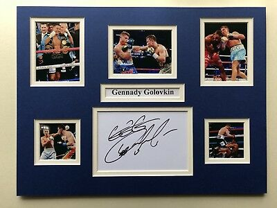 """Boxing Gennady Golovkin Signed 16"""" X 12"""" Double Mounted Display"""
