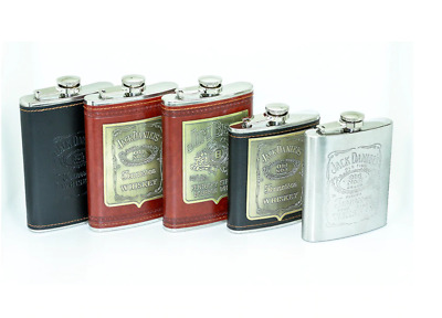 Jack Daniels Old No.7 /Jim Beam Whisky Flagon Stainless Steel Hip Flask 9oz