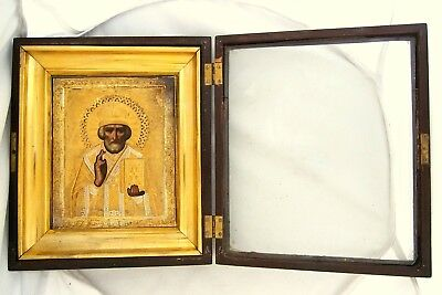 Antique Russian Imperial Solid Silver 84 Christian Orthodox Icon Saint Nicholas