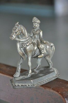 Old Brass Handcrafted Unique Horse Rider Engraved Figurine , Rich Patina