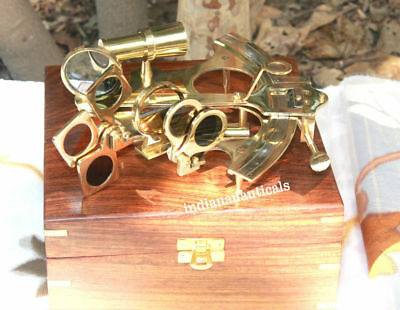 """Solid Brass Handmade Vintage Sextant 6"""" With Wooden Box Decor Reproduction Item."""