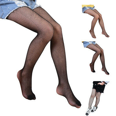 Kids Girls Mesh Fishnet Hollow Out Pantyhose Tights Stockings Long Socks Black