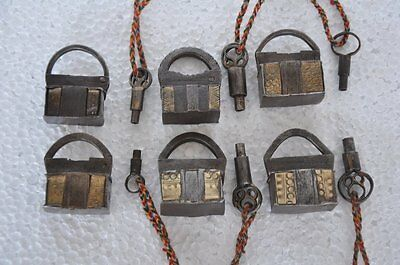6 Pc Old Iron Brass Strip Fitted Unique Shape Handcrafted Screw System Padlocks