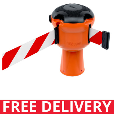 Skipper™ Retractable Belt Safety Barrier System Orange with Red & White Tape 9m