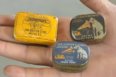3 Pc Vintage 'His Master's Voice & The Twin' Brand Gramophone Needle Ad Tin Box