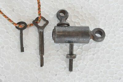 Rare Old Iron Handcrafted Unique Shape 2 Key Screw System Padlock