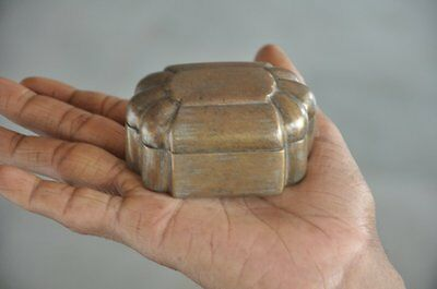 Old Brass Handcrafted Solid Heavy Unique Shape Jewellery Box, Rich Patina