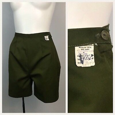 Vintage NOS Deadstock 50s 60s Army Green Cotton High Waist Shorts Side Zip XS