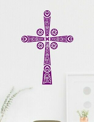 Byzantine Religious Ornate Cross Matt Vinyl Spiritual Wall Art Mirror Sticker