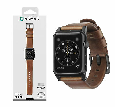Watch Strap for Apple Watch 38mm Nomad Leather Rugged Patina Brown w/ Black Lugs