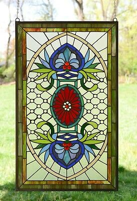 "Decorative Jeweled Handcrafted stained glass panel, 20.5"" x 34.5"""