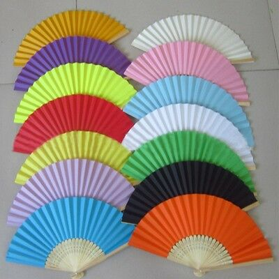 New Chinese Hand Held Fan Bamboo Silk Folding Fan Party Wedding Decor Paper H18