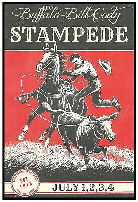 Buffalo Bill Cody - Cody Wyoming  -  VINTAGE RODEO POSTER PRINT