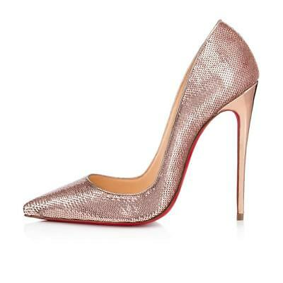 Christian Louboutin SO KATE 120 Sequin Stiletto Heels Pumps Shoes Nude Pink $775