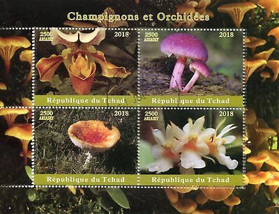 Chad 2018 CTO Mushrooms & Orchids 4v M/S Champignons Flowers Fungi Stamps