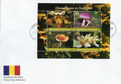 Chad 2018 FDC Mushrooms & Orchids 4v M/S Cover Champignons Flowers Fungi Stamps