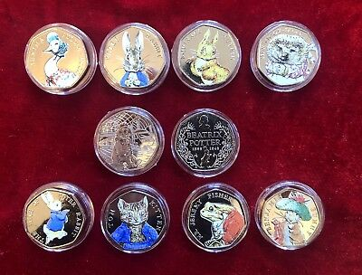 beatrix potter 50p Coin Set Coloured 2016/2017 Free Paddington 50p Coin