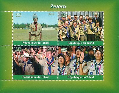 Chad 2018 MNH Boy Scouts 4v M/S Scouting Stamps