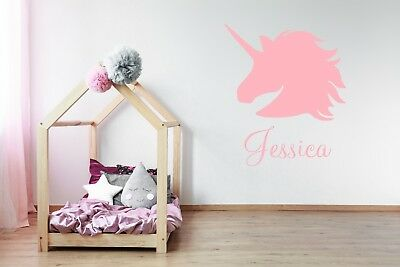 Personalised Name and Unicorn Wall Sticker For Girls Bedroom Wall Art AG21