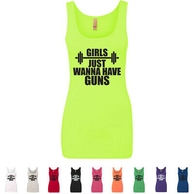 Girls Just Wanna Have Guns Womens Fitted Workout Gym Funny Crossfit Tank Tops