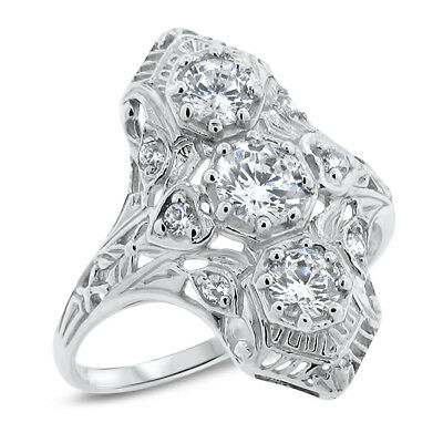 #1149 ART DECO RING 925 STERLING SILVER ANTIQUE STYLE CUBIC ZIRCONIA