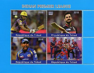 Chad 2018 CTO Indian Premier League Cricket 4v M/S Sports Stamps