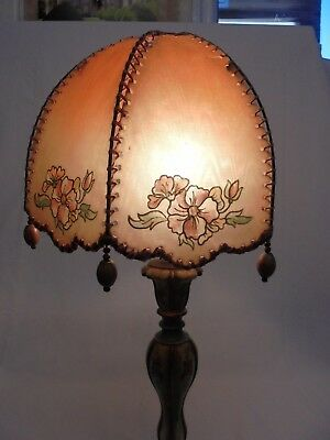 Vintage Retro 1930S 1940S Plastic Lamp Shade Wooden Drops Beads Flower Pink