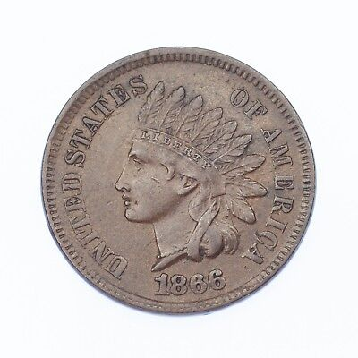 1866 1C Indian Head Cent XF Condition, All Brown Color, Clean Bold LIBERTY