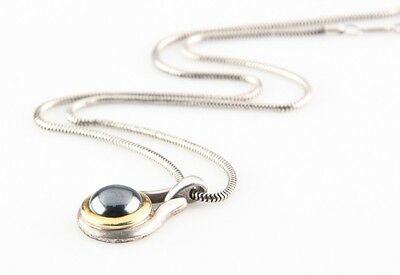 Tiffany & Co. 18k Gold and Sterling Silver Hematite Pendant + Chain Retired 1999