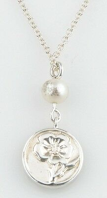 """Tiffany & Co. Sterling Silver & Pearl Rose Pendant Necklace 16"""" Chain Retired"""