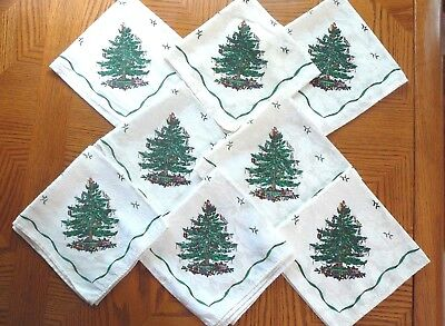 8 Spode Christmas Tree Cloth Napkins Ivory on White Holly Leaves Background