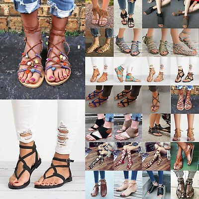 Womens Gladiator Sandals Lace Up Flip-Flops Clip Toe Flats Summer Casual Shoes