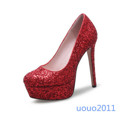 Women's Bling Bling Sequins Stiletto Platform Pumps Sexy Nightclub Fashion Shoes