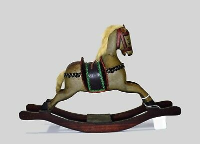 Antique Doll Toy Rocking Horse Solid Wood with Leather Like saddle Very Old