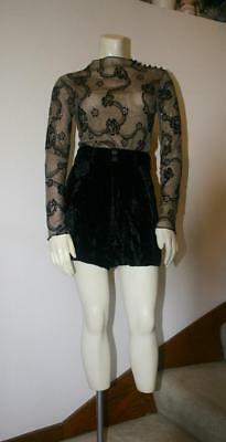 Vintage Early 1990's Betsey Johnson Black Crushed Velvet Shorts -- Size M