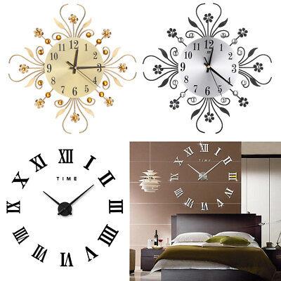 UK 35cm Diamante Beaded Jeweled Sunflower Metal Spiked Wall Clock Black Silver F