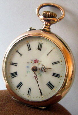 Beautiful Ladies Two Tone Solid Silver With An Enamelled Back Pocket Watch # 51A
