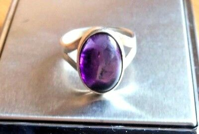 Antique silver ring with amethyst gemstone silver jewelry size 8 item 327