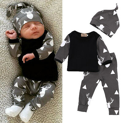 3Pcs Newborn Baby Boys Deer T-shirt Tops Pants Trousers Hat Outfits Clothes Set