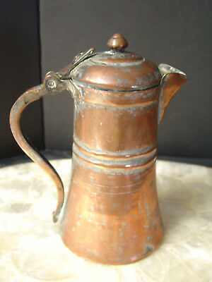 "Antique Persian Coffee Pot Copper Engraved 7.5"" high Iran Persia"