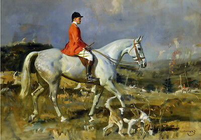 Horse Hounds Hunting Red Coat Painting Alfred Munnings Fine Art Canvas Print