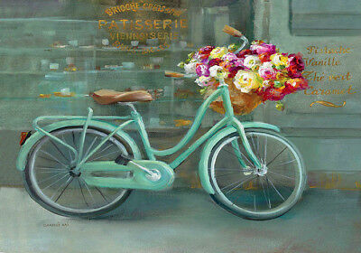 Garden Roses Bike Flowers Vintage French Provincial Bicycle Canvas Print A4