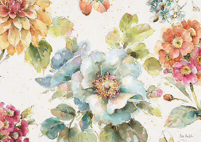 Rose Garden Watercolour Vintage French Provincial Country Chic Canvas Print A3